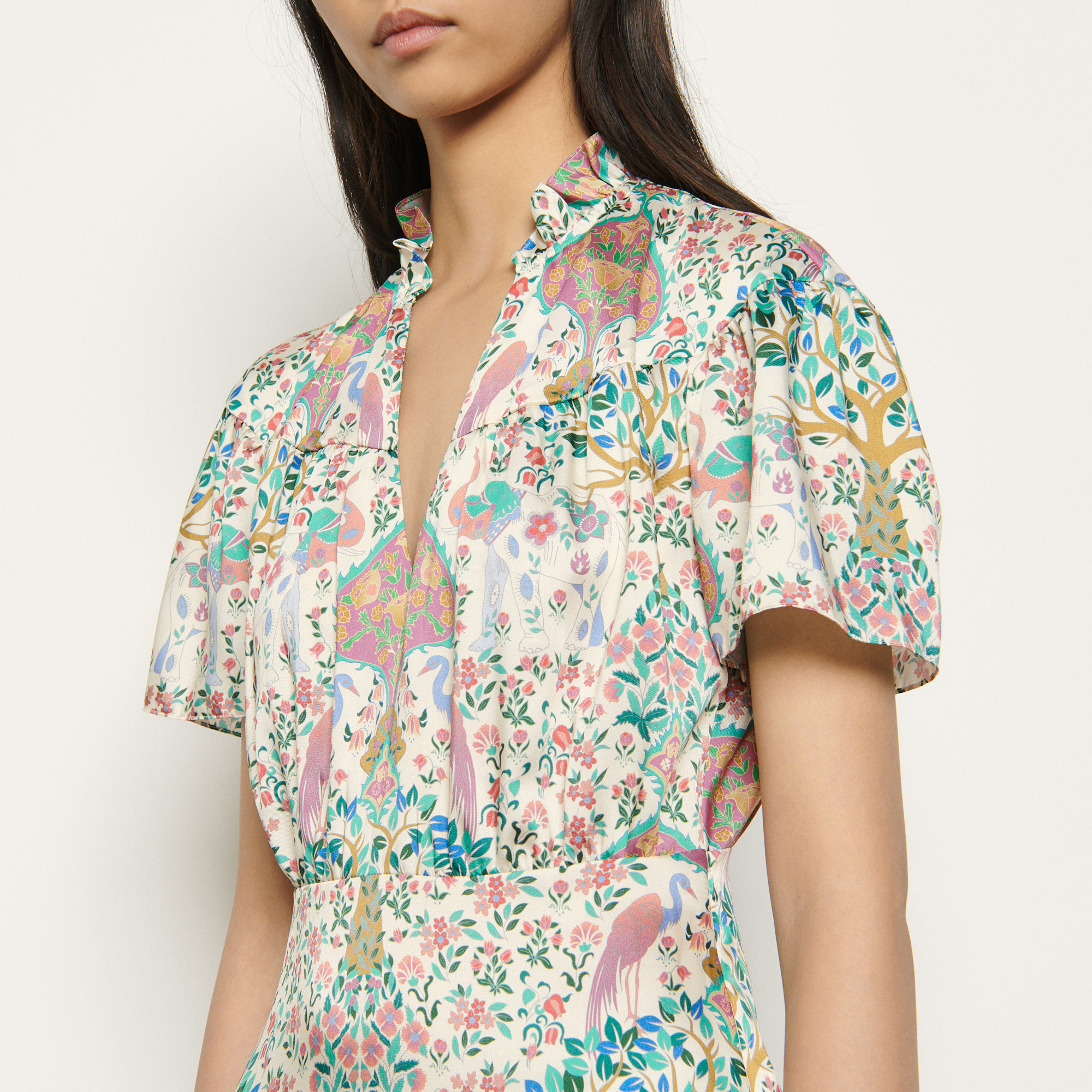 Short printed dress with ruffles and short sleeves - Ecru