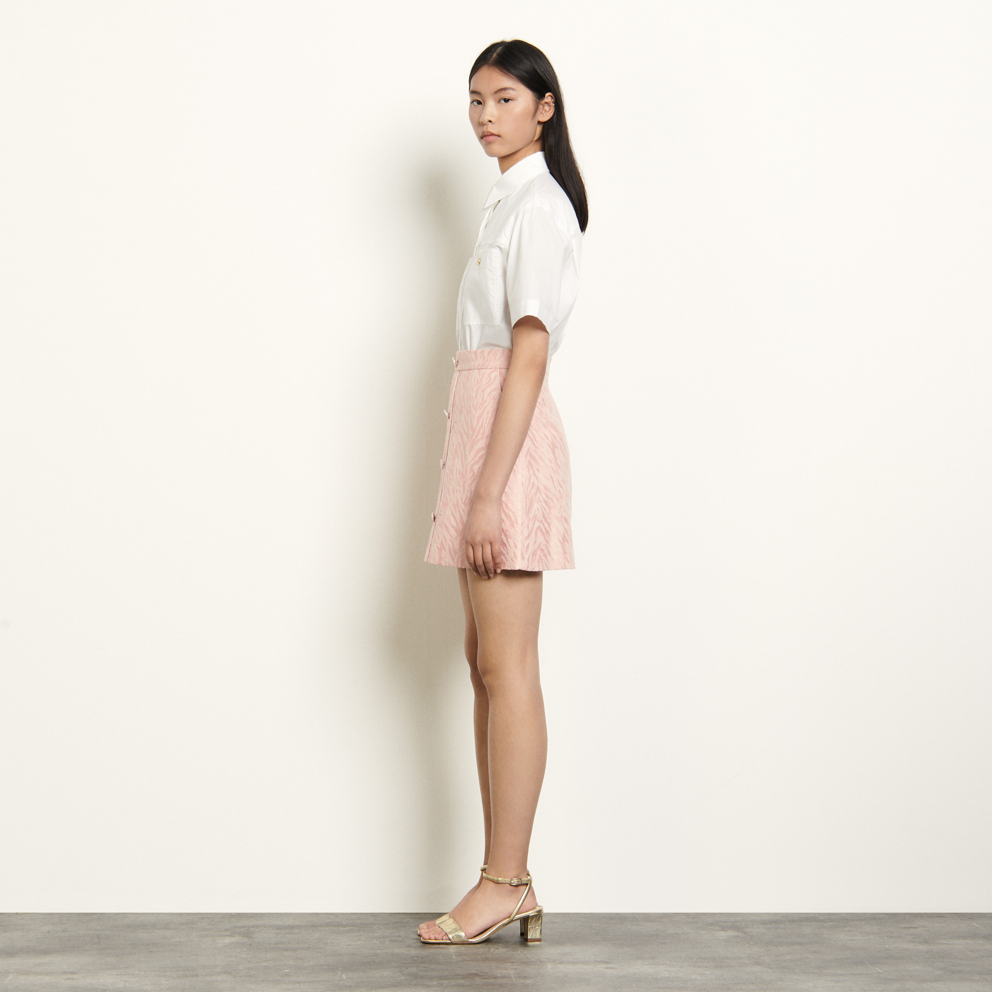 Pink short striped jacquard skirt - Pink