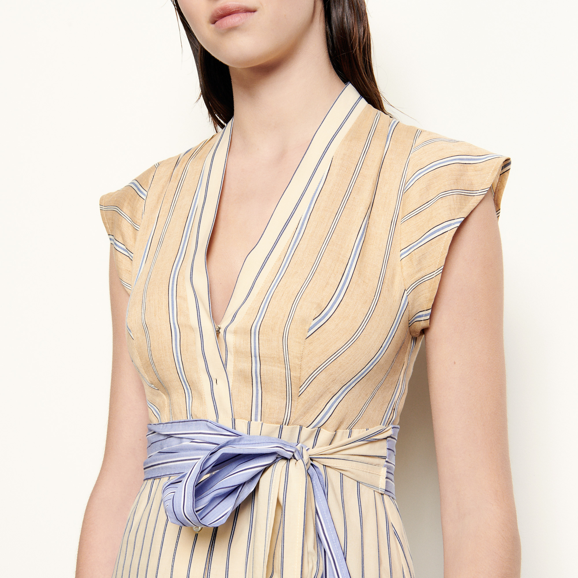 Long asymmetric dress with stripes - Multiclr