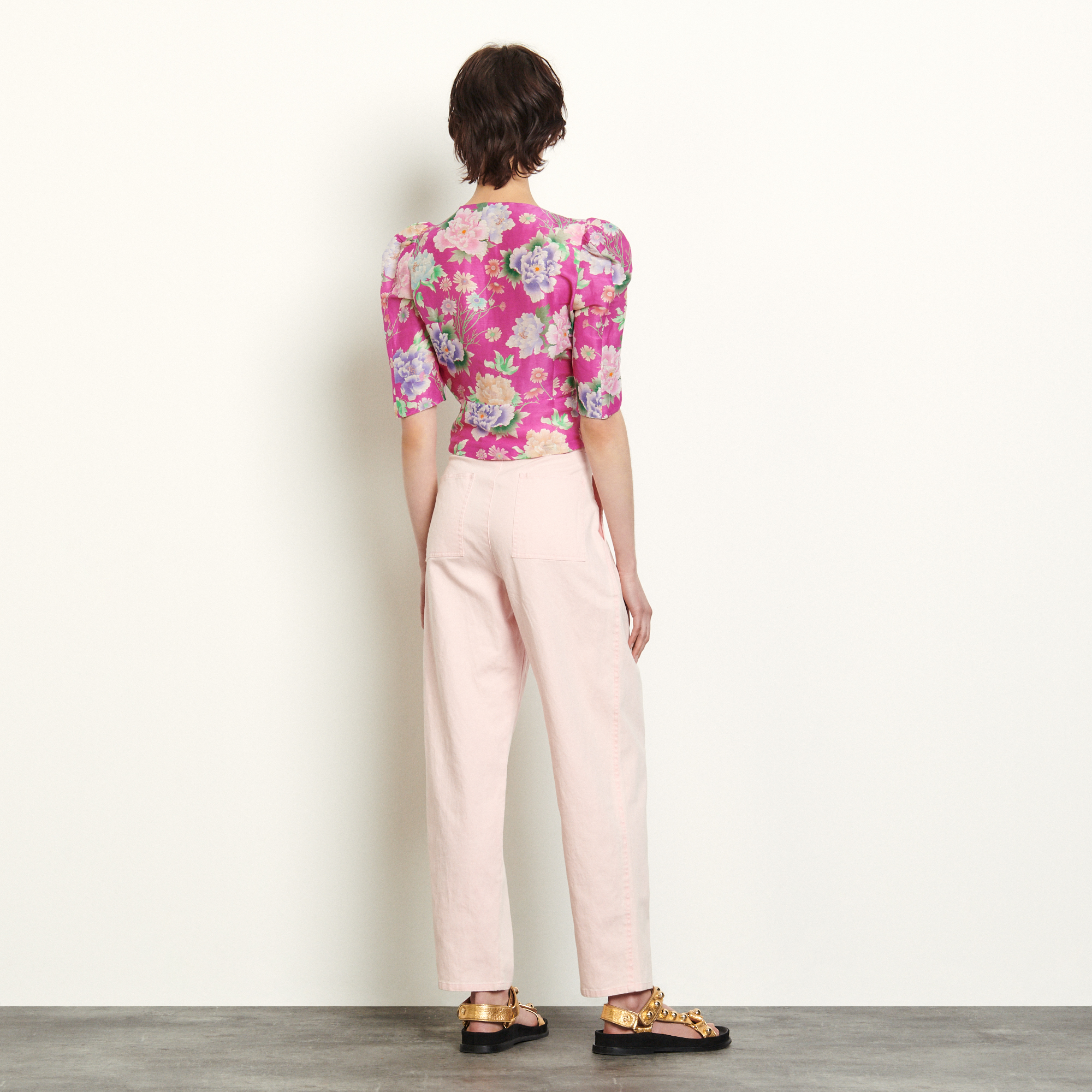 Linen and silk printed top - Pink