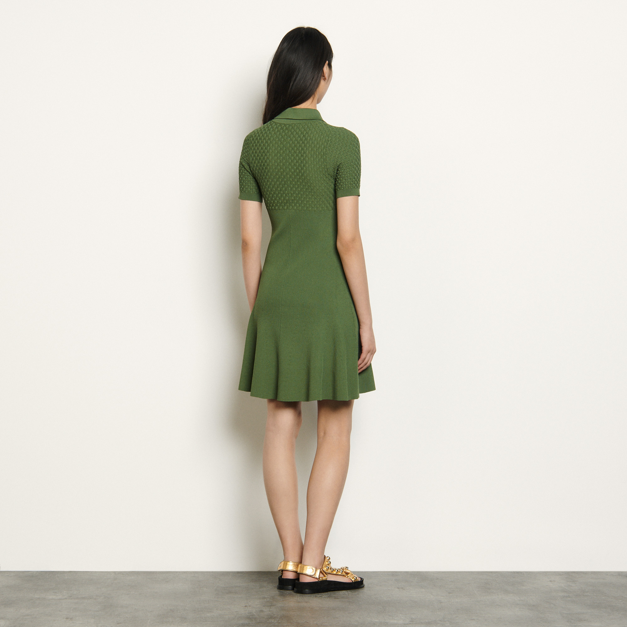 Polostyle knitted dress - Green