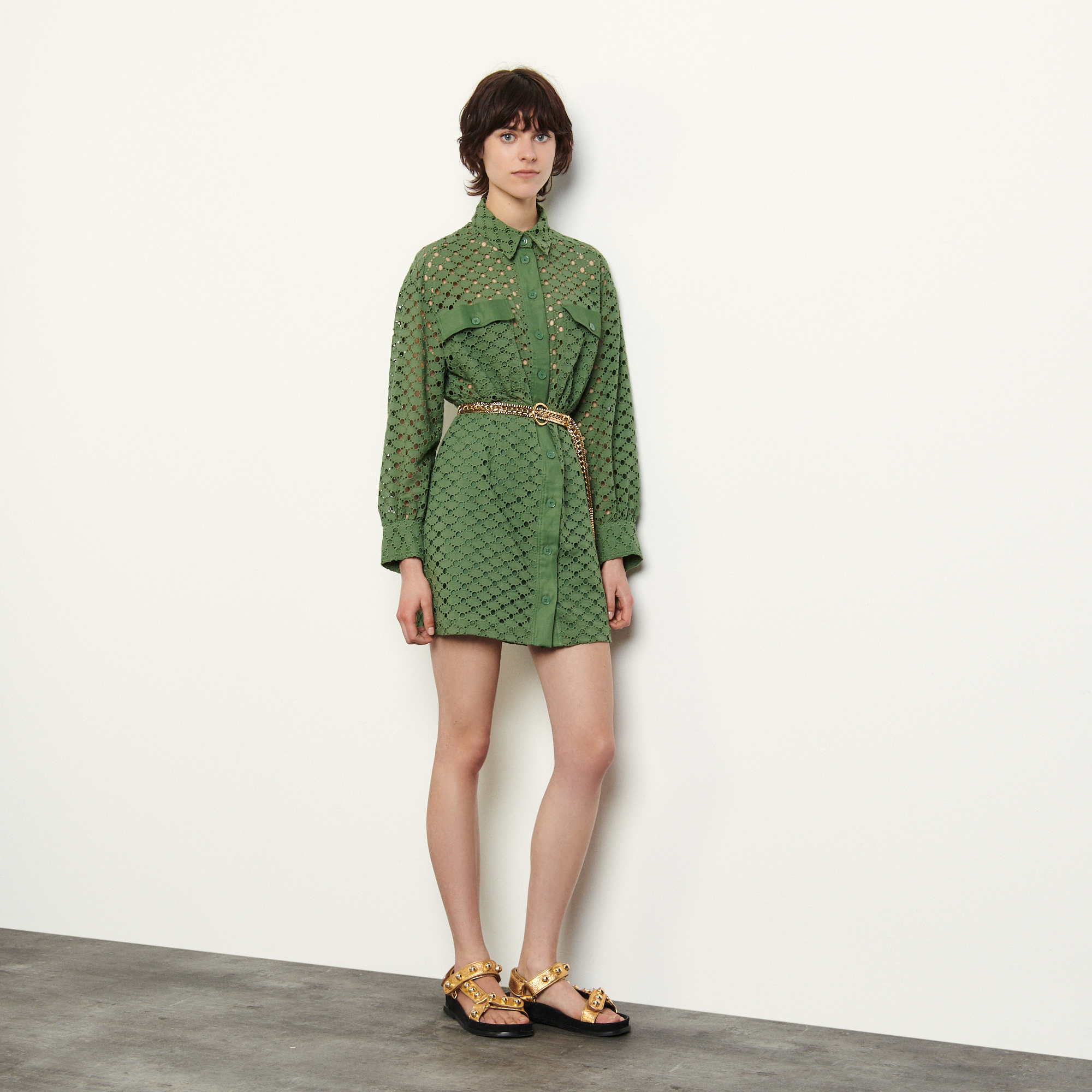 Broderie anglaise shirt dress  - Green