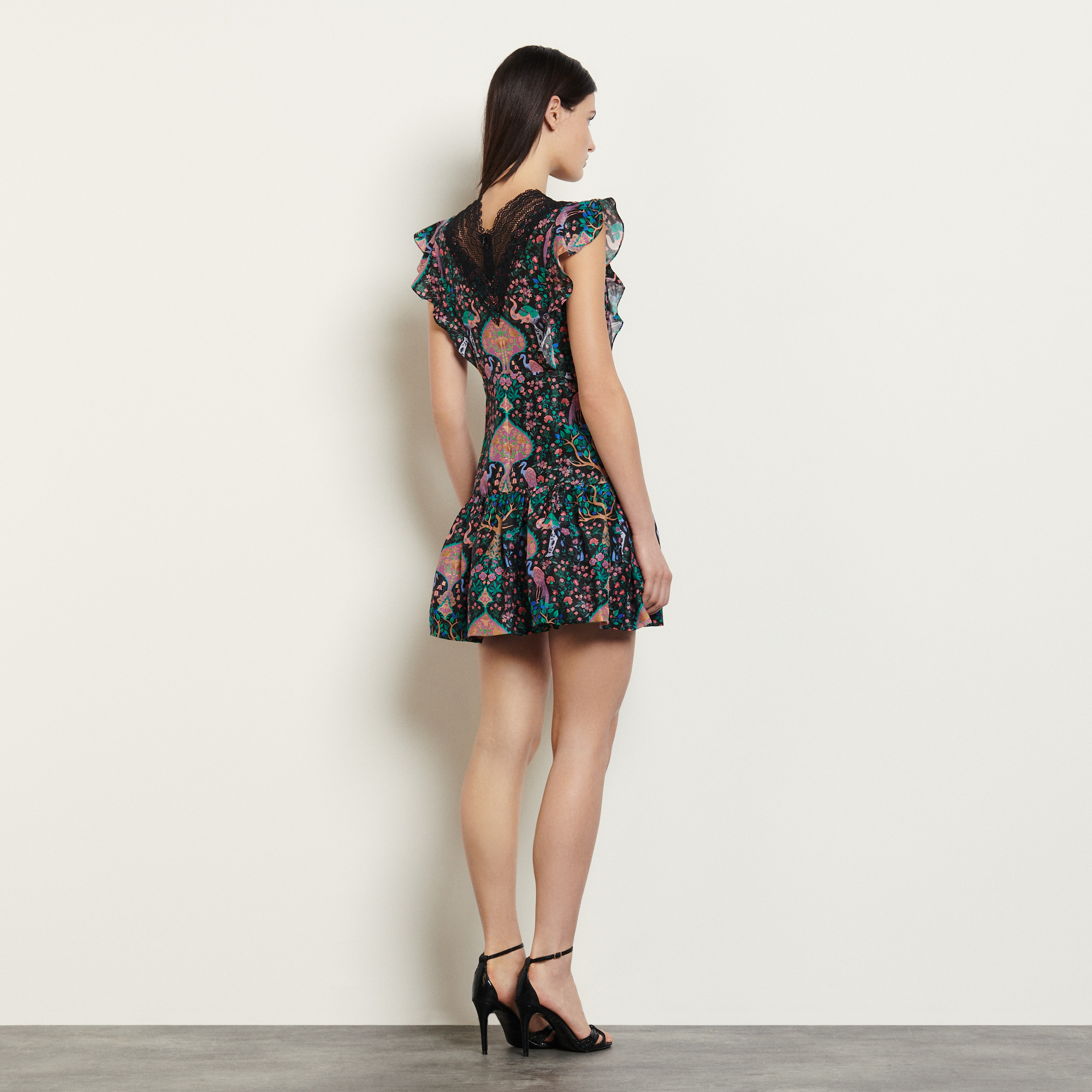 Short printed dress with lace trims - Black