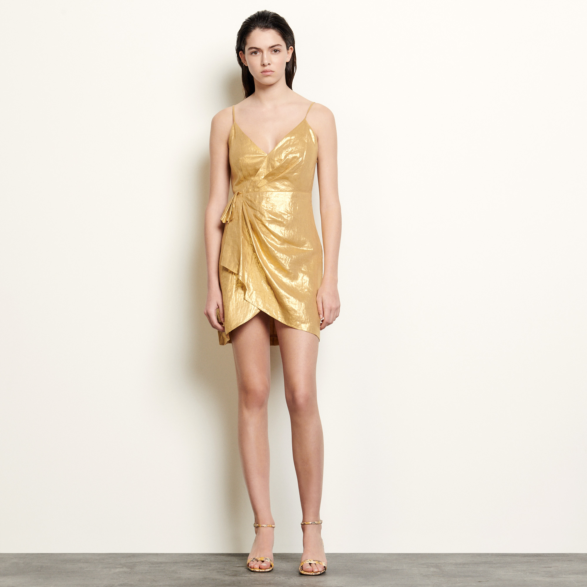 Linen dress with straps and draping - Gold