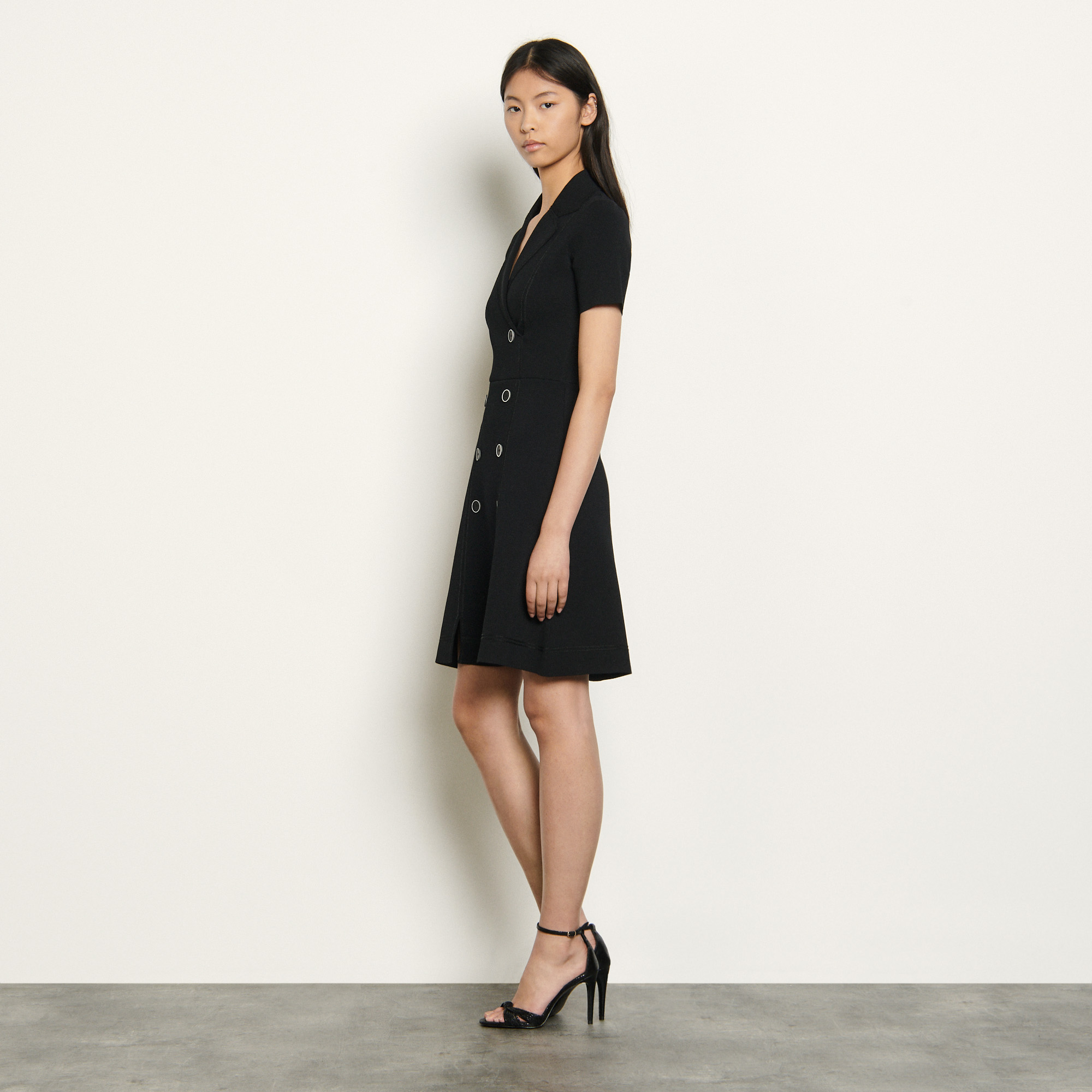 Black knitted tailored dress - Black