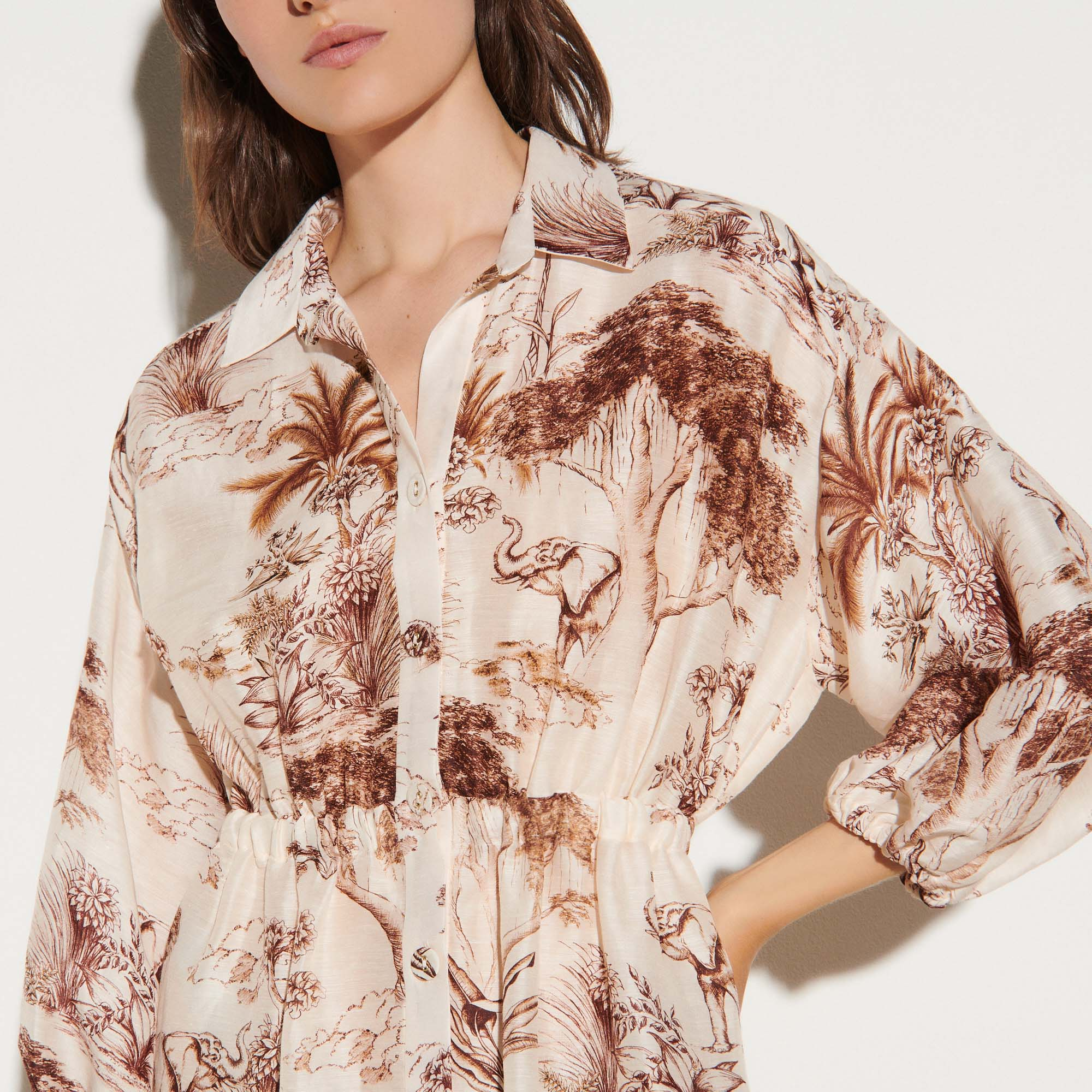 Printed shirt dress - Ecru