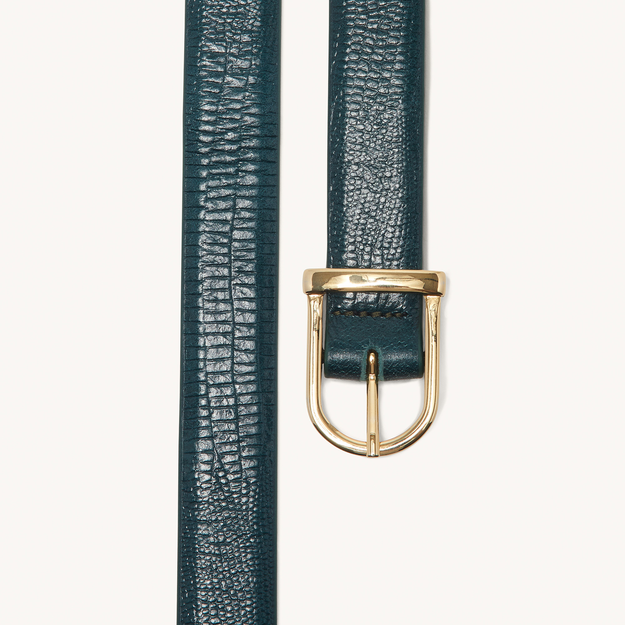 Lizard embossed leather belt  - Green