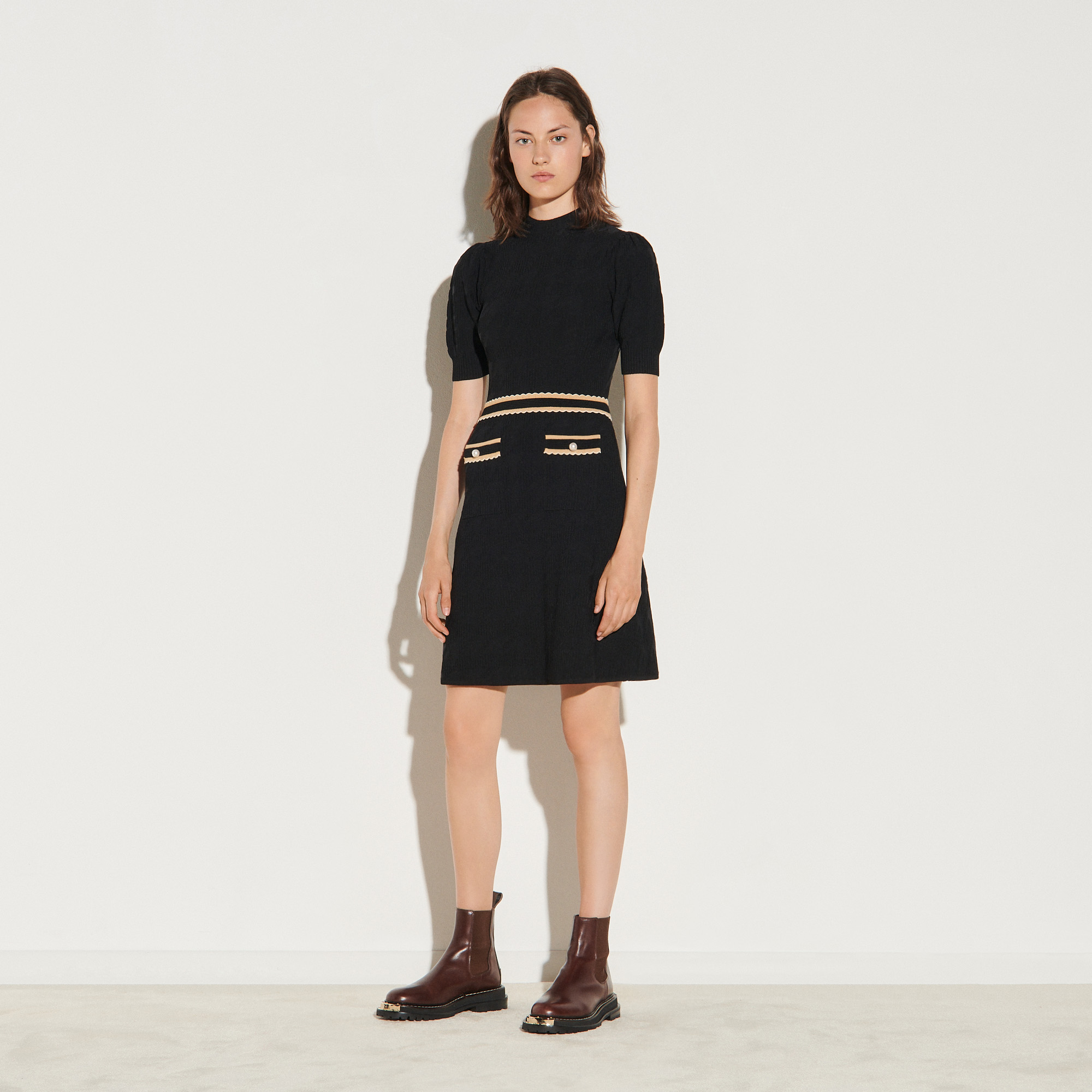 Houndstooth jacquard dress - Black