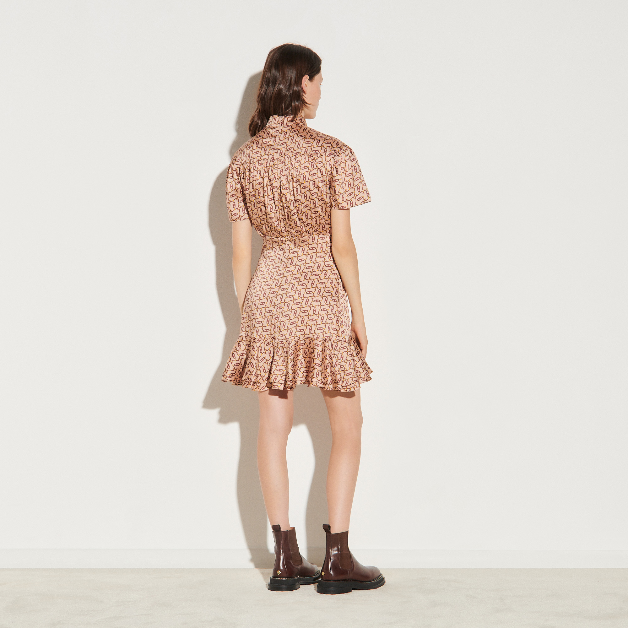 Printed dress with tie collar - Beige