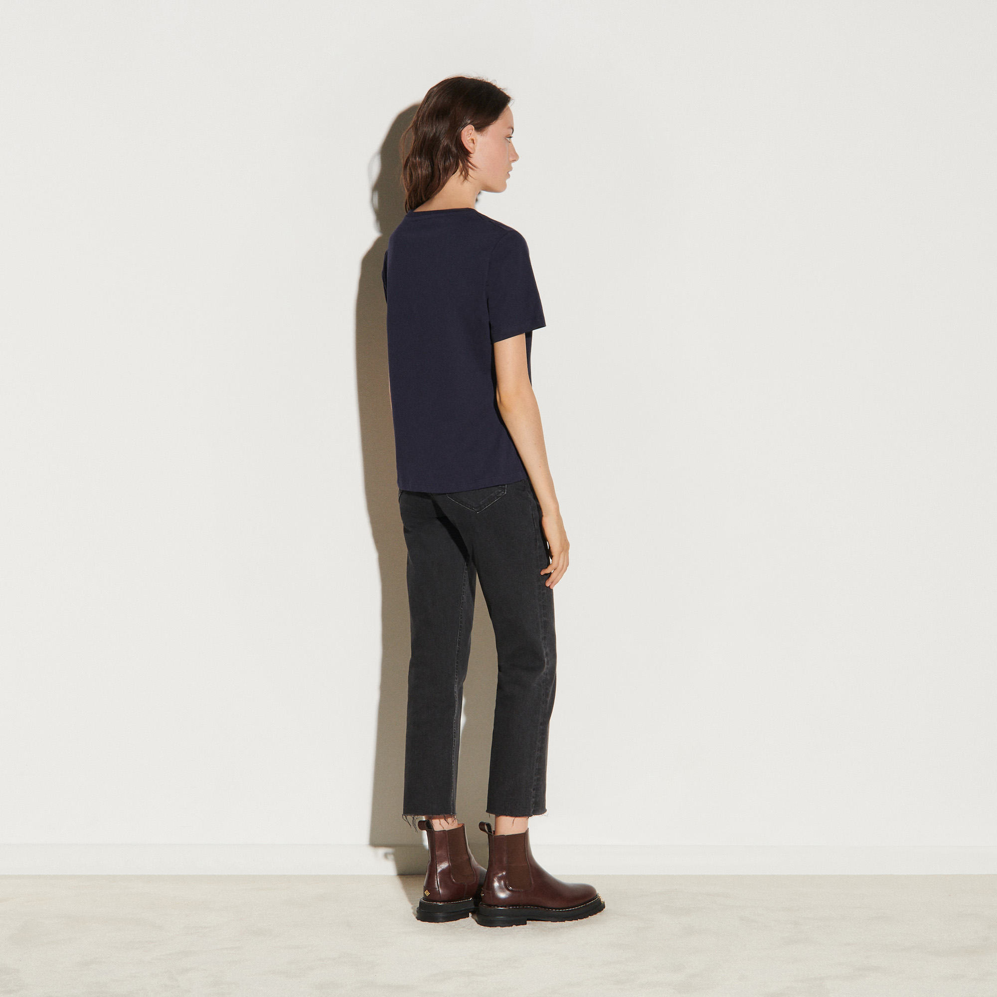 T shirt with tweed S patch - Navy