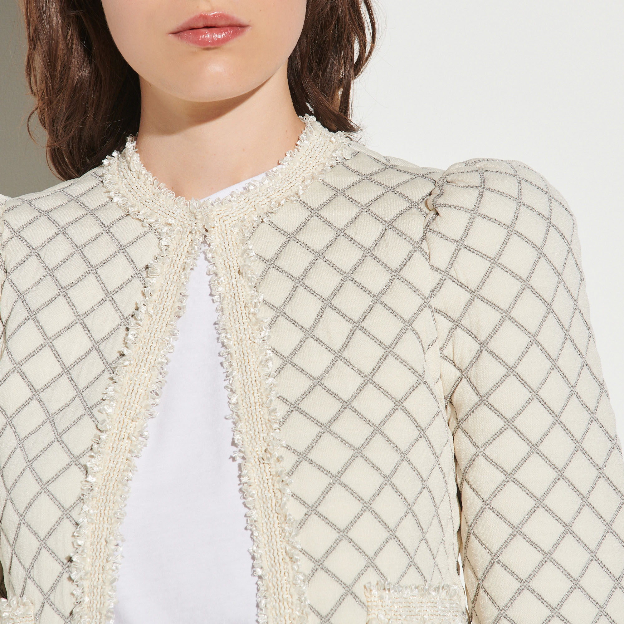Quilted effect cardigan - Ecru