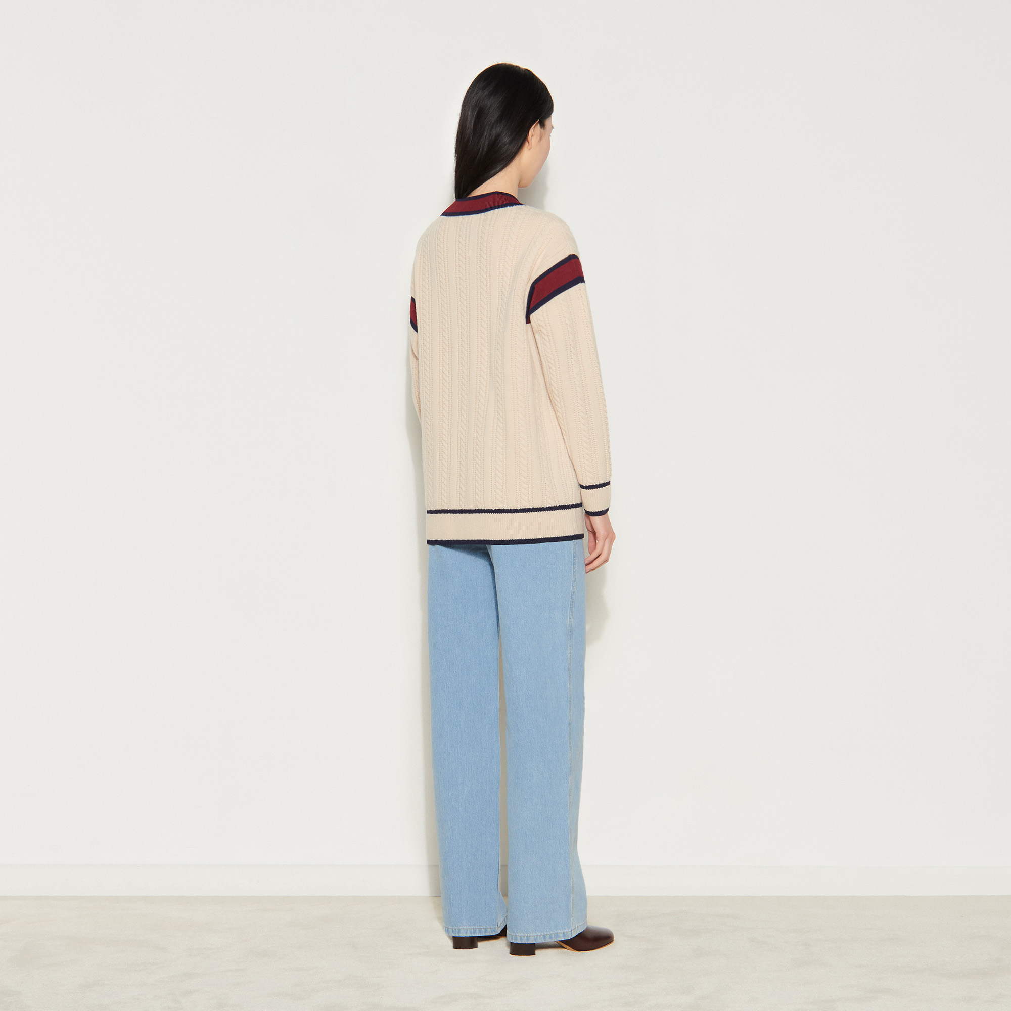 Cable knit cardigan - Beige