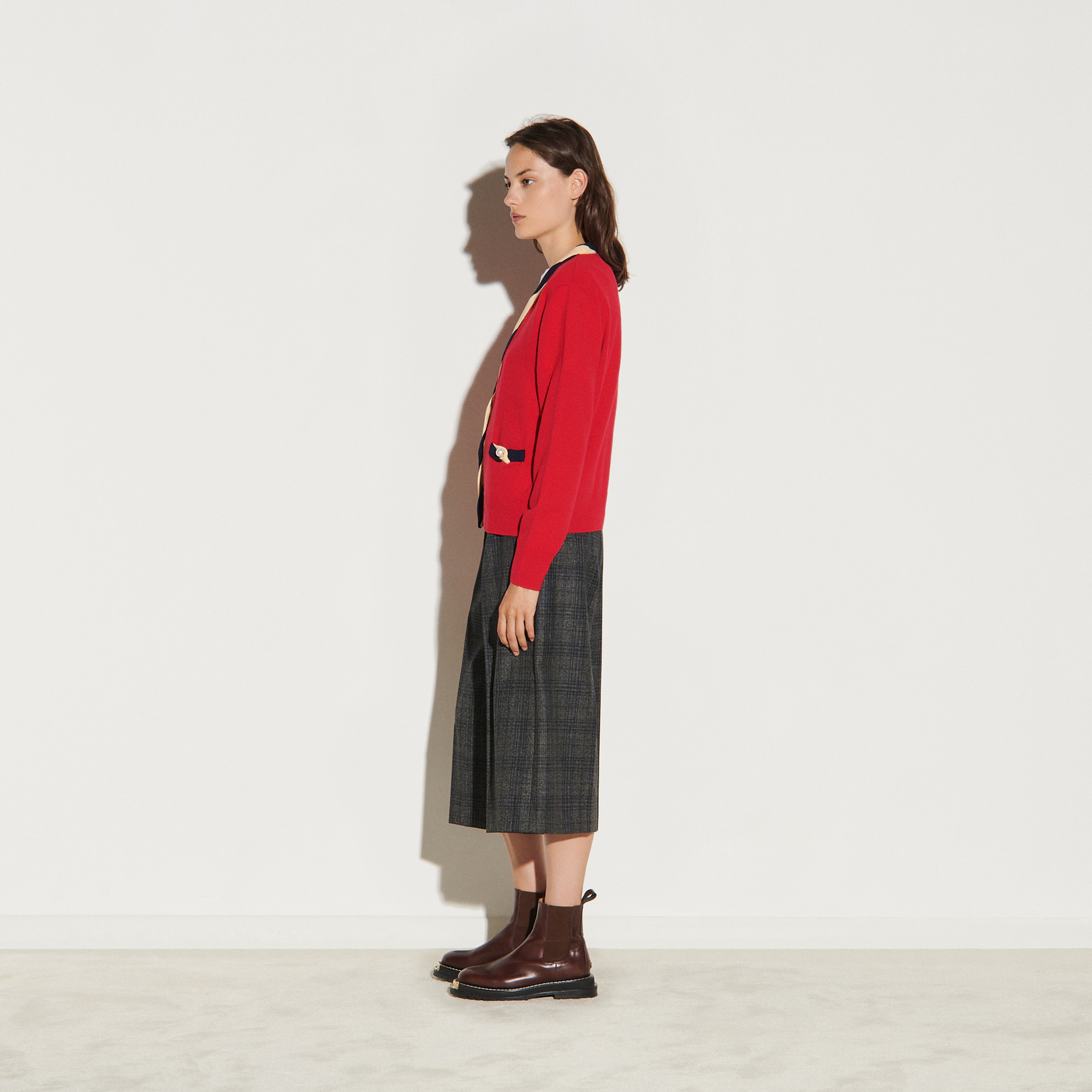 Cropped cardigan in wool and cashmere - Red