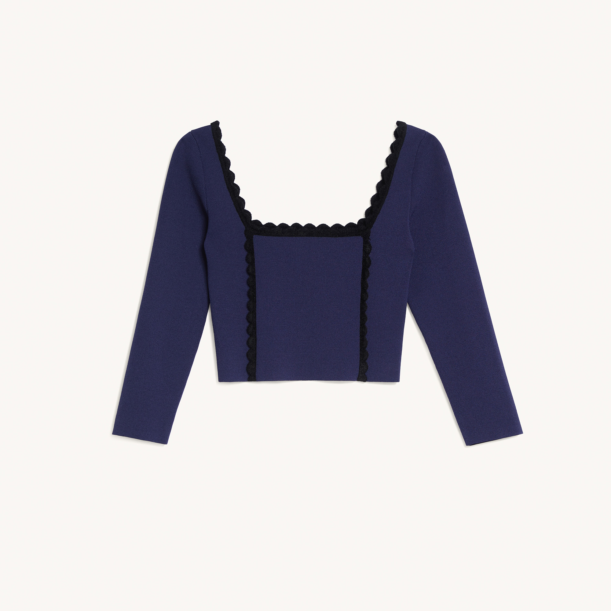 Cropped top with square neckline - Navy