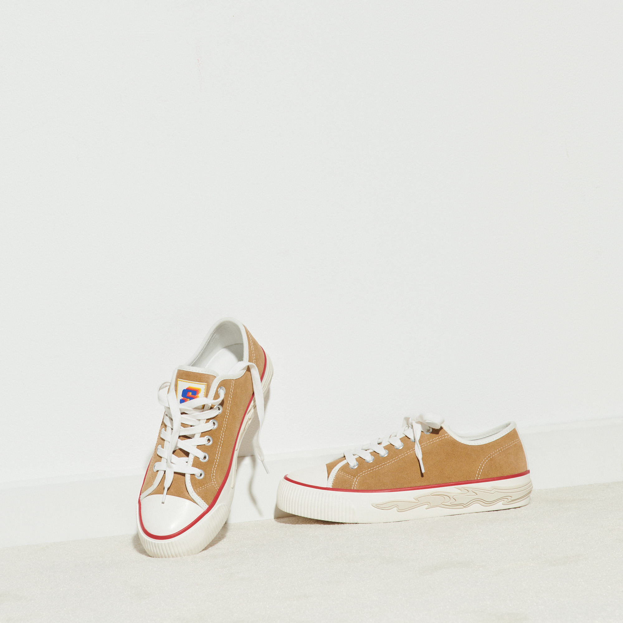 Suede trainers with flame sole - Beige