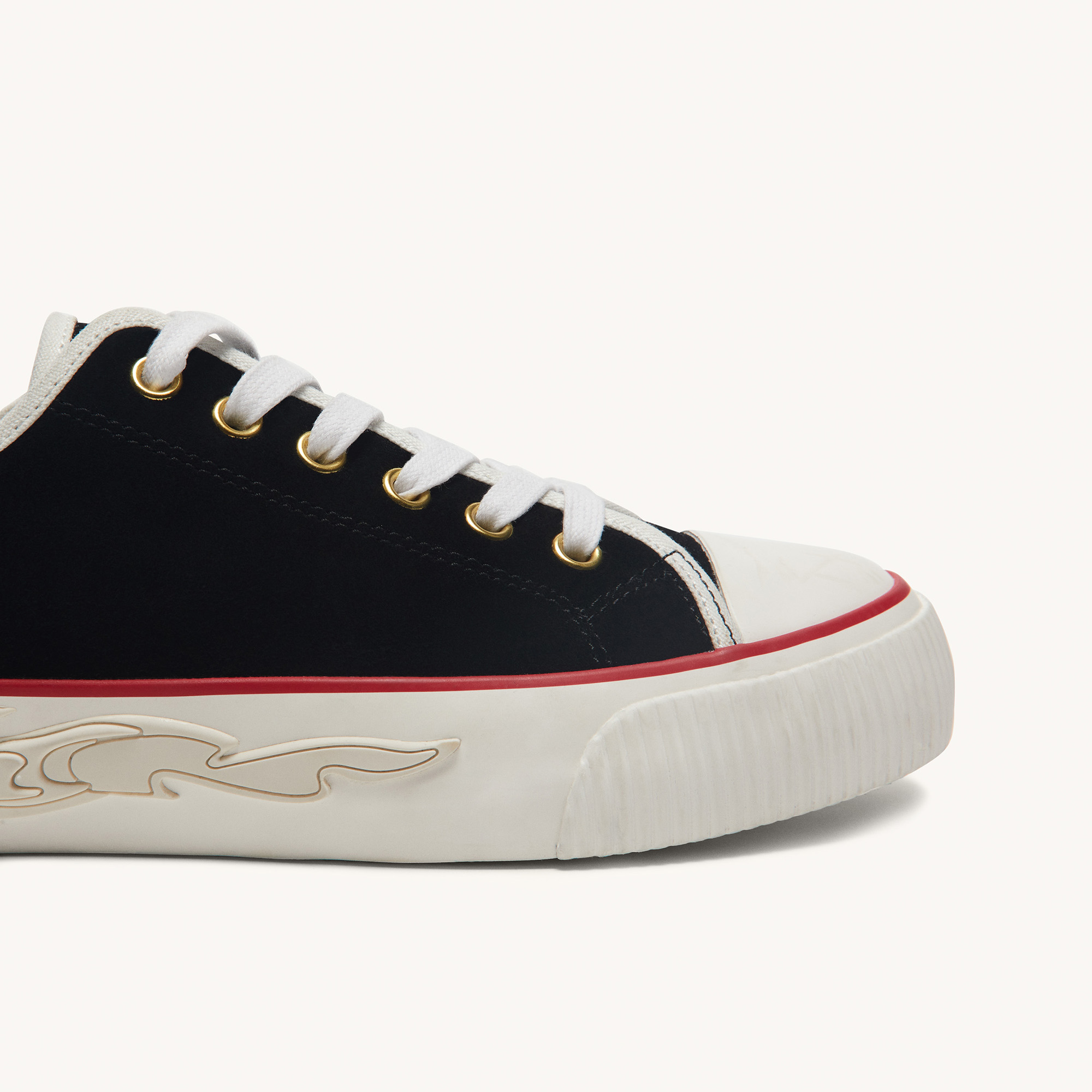 Suede trainers with flame sole - Black