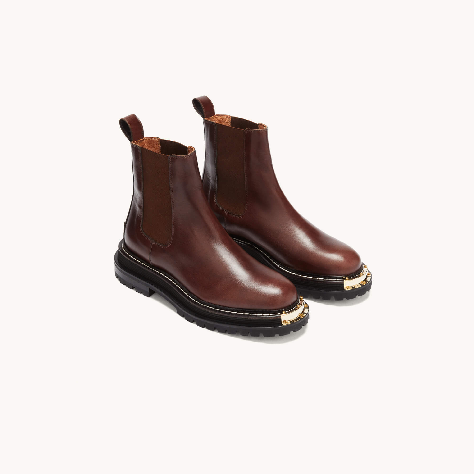 Leather boots with notched sole - Brown