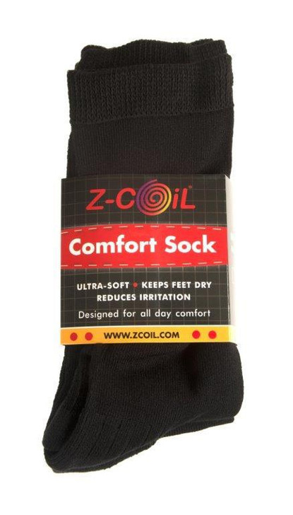 Z-CoiL® Comfort Socks -  Mid Calf Black Loose Fit - 3 Pack