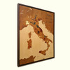 Italy wine regions inlay marquetry wood map