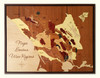 Napa Sonoma wine regions inlay  wood marquetry map detail