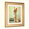 Baby girl bathroom decor rare Italian Talco vintage ad watersafe canvas with shabby distressed wood frame