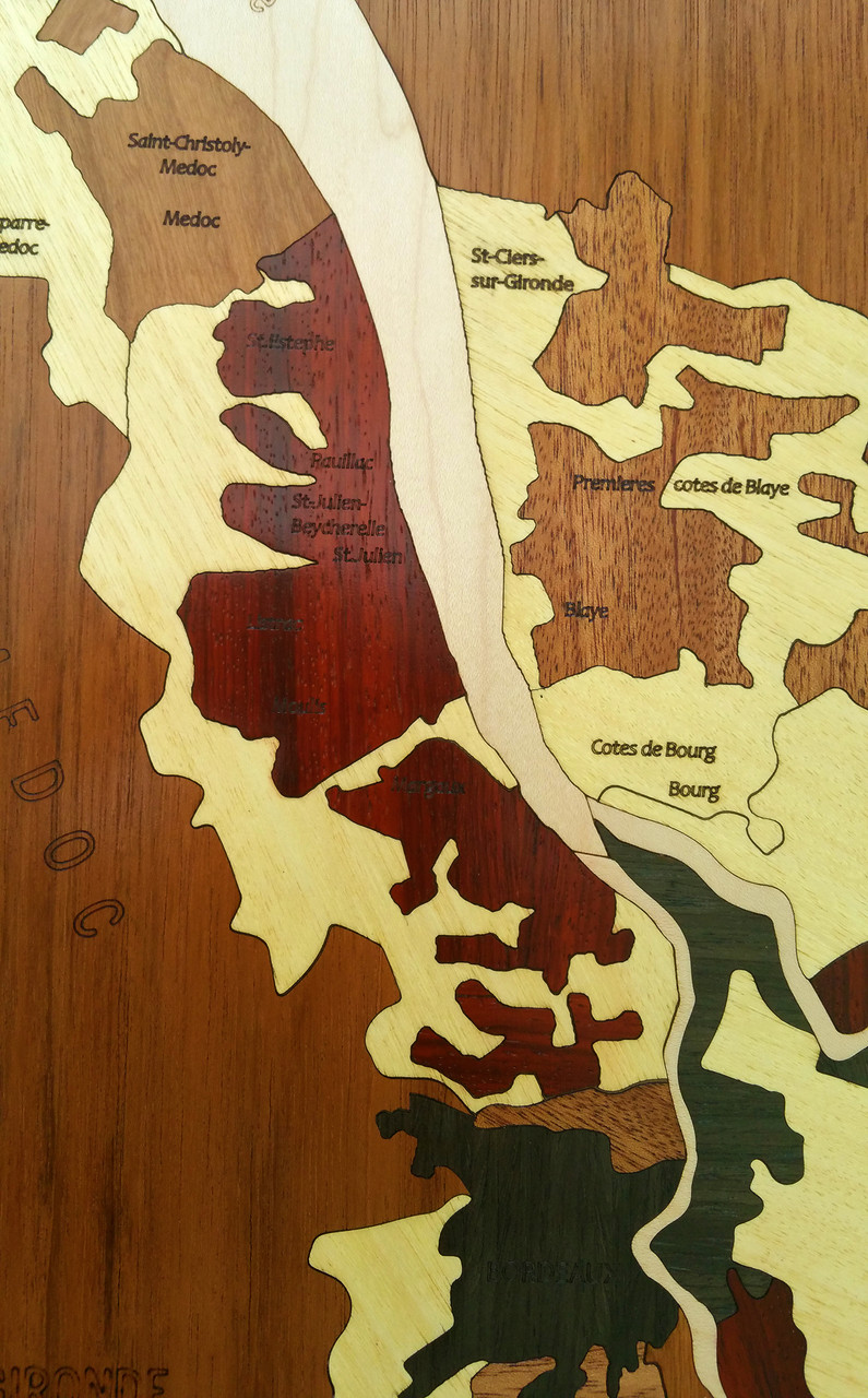 Bordeaux Wine Regions Marquetry Wood Inlay detail