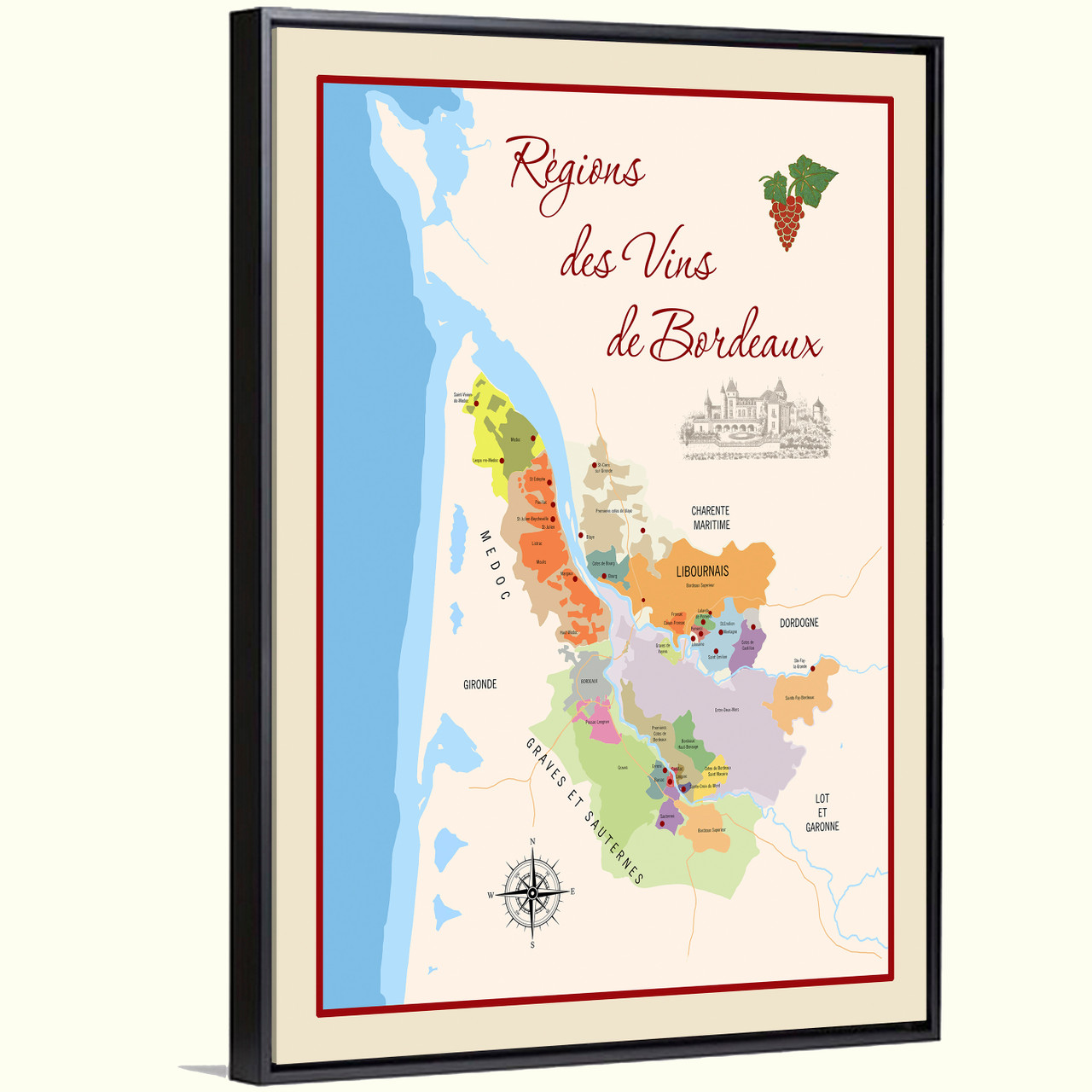 Bordeaux Wine Regions Framed Canvas Giclee Print