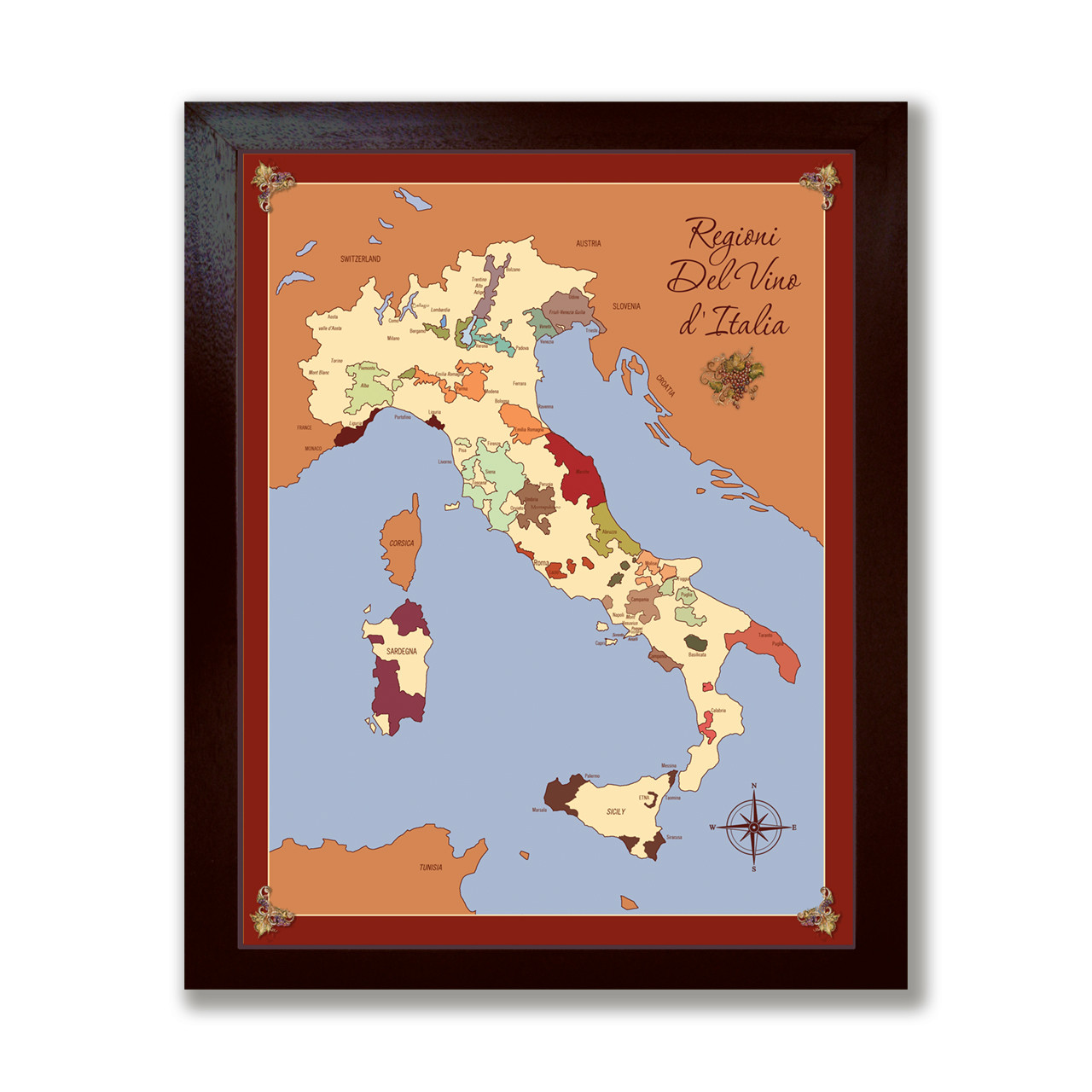 Italy wine region map canvas with dark espresso wood frame