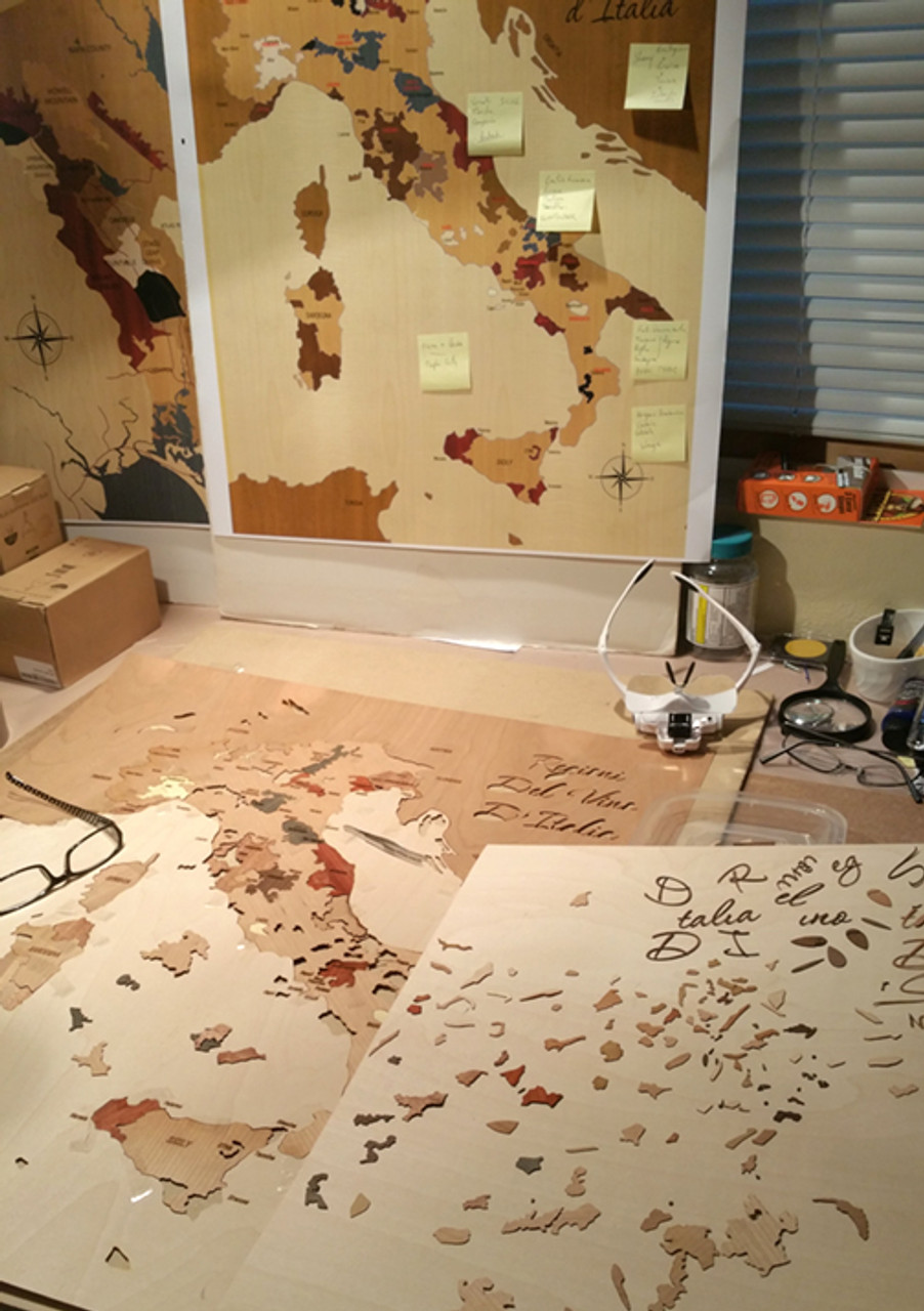 Italy wine regions inlay marquetry wood map workshop