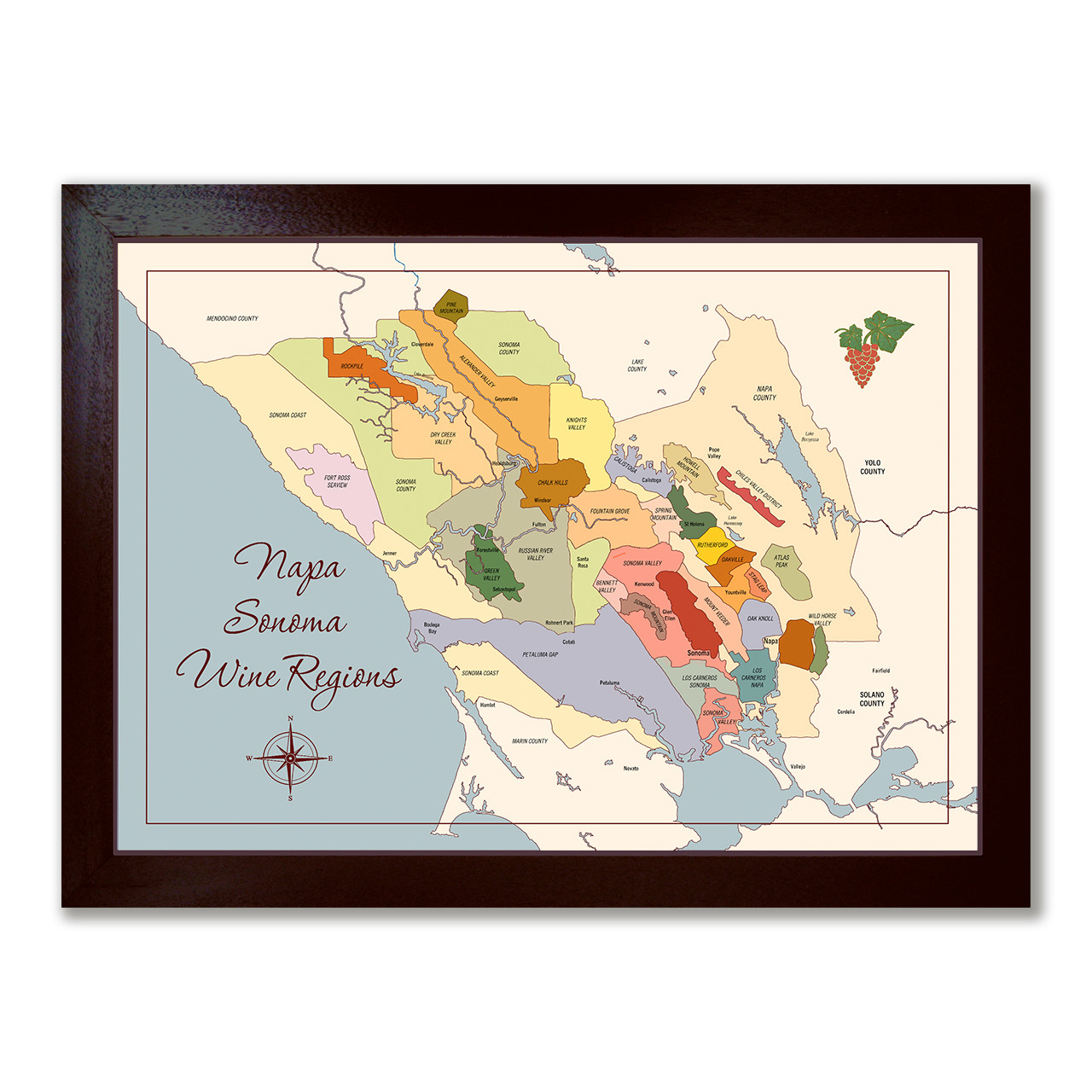 Napa Sonoma Wine Regions canvas framed