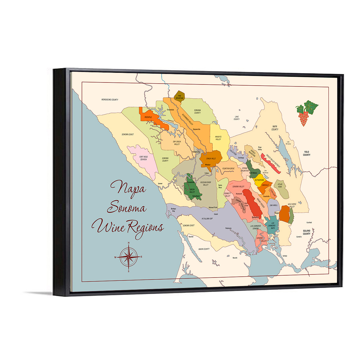 Napa Sonoma Wine Regions canvas with float frame