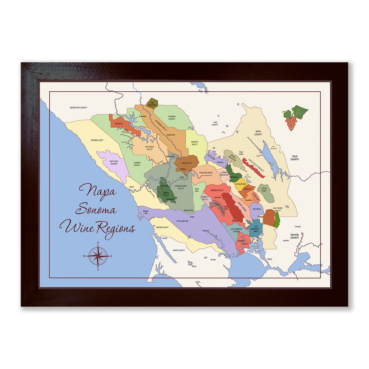 Napa Sonoma Wine Map personalizable giclee canvas