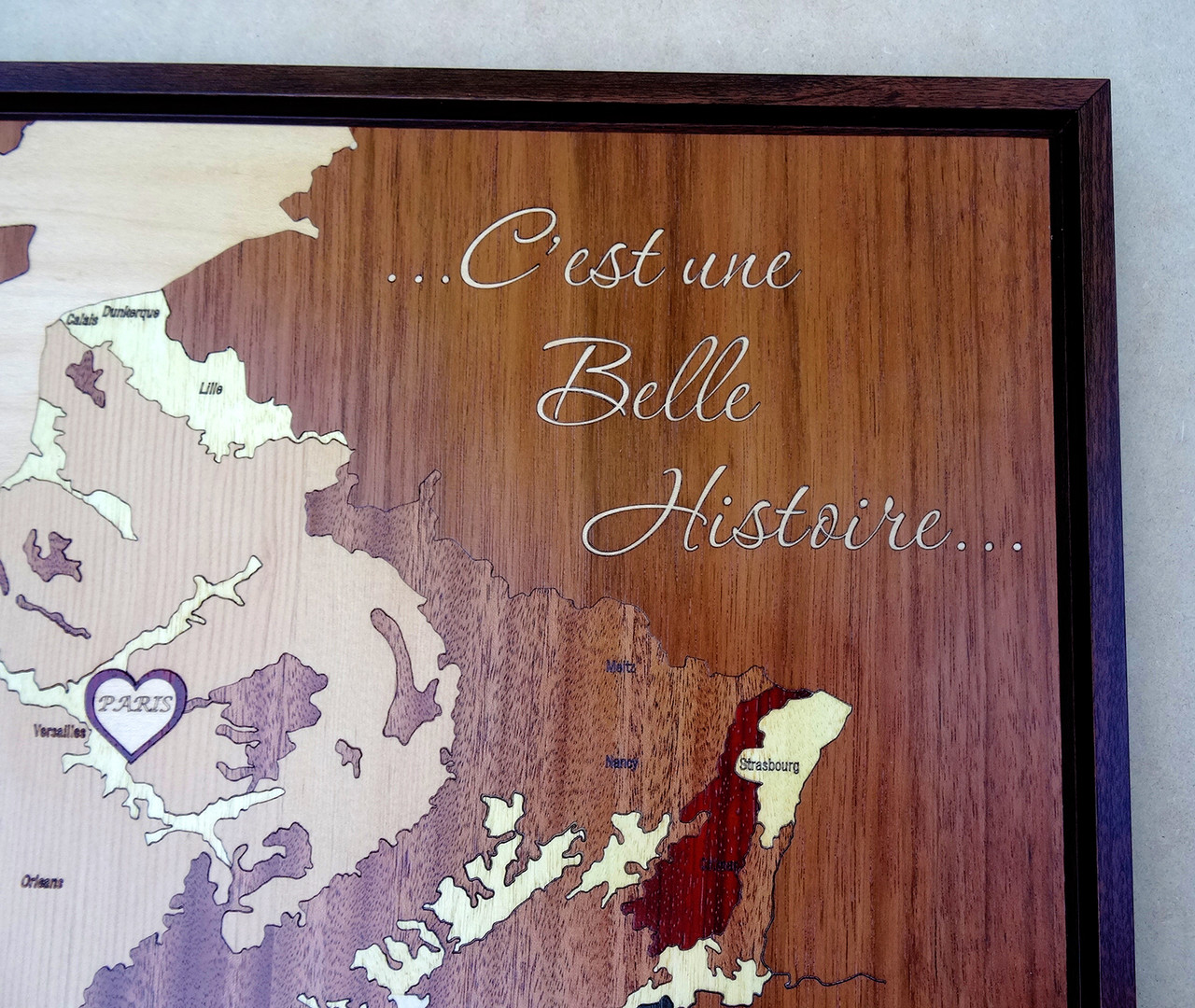France Inlay Wood Map Personalized
