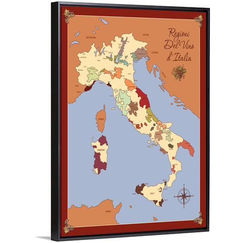 Italy wine region map canvas with float frame