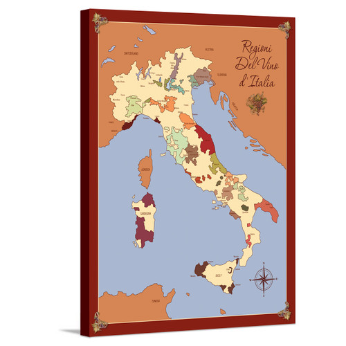Italy wine region map stretched canvas gallery wrap