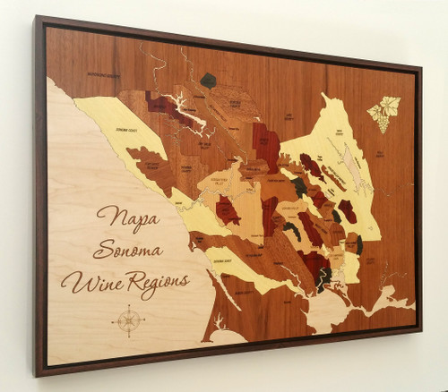 Napa Sonoma wine regions inlay  wood marquetry map