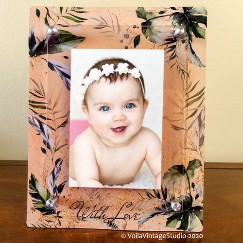 "Baby photo-frame, Designer frame with personalisation option ""Palm Love"""