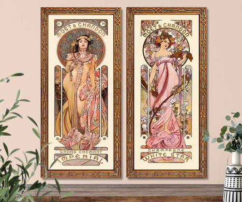 Art Nouveau Mucha set of 2 French Moet champagne advertising