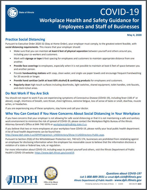 Illinois Workplace Health and Safety Guidance for Employees and Staff of Business