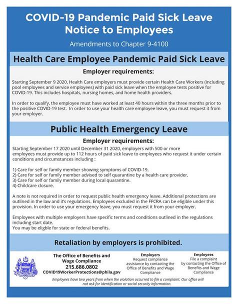 Philadelphia, Pennsylvania Pandemic Paid Sick Leave