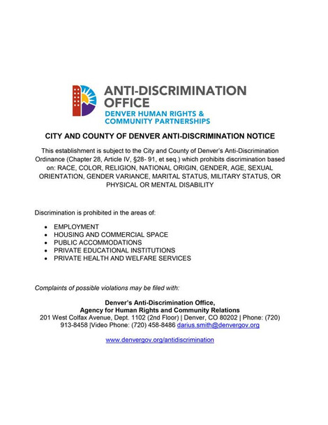 Denver, Colorado Anti-Discrimination Local Ordinance Supplemental Poster