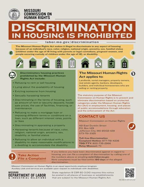 Missouri Discrimination in Housing is Prohibited Supplemental Poster