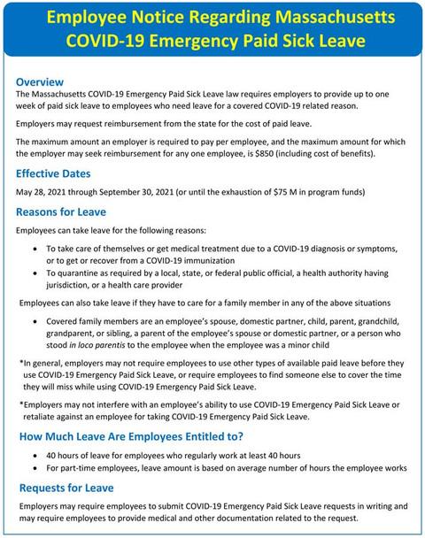 Massachusetts COVID-19 Emergency Paid Sick Leave