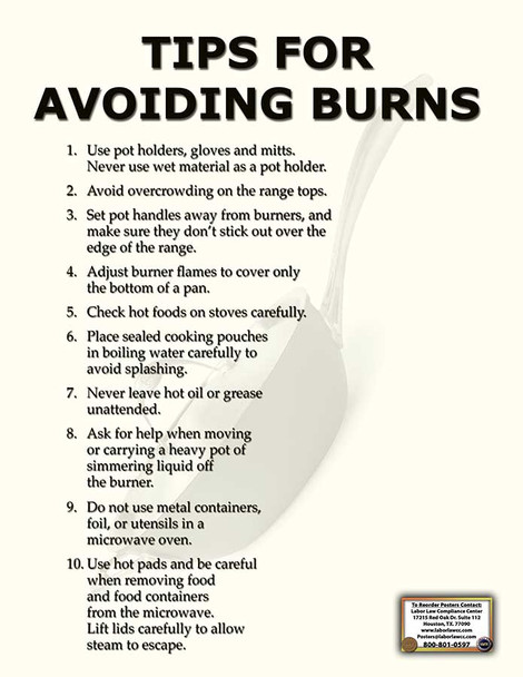 Avoiding Burns Safety Specialty Poster