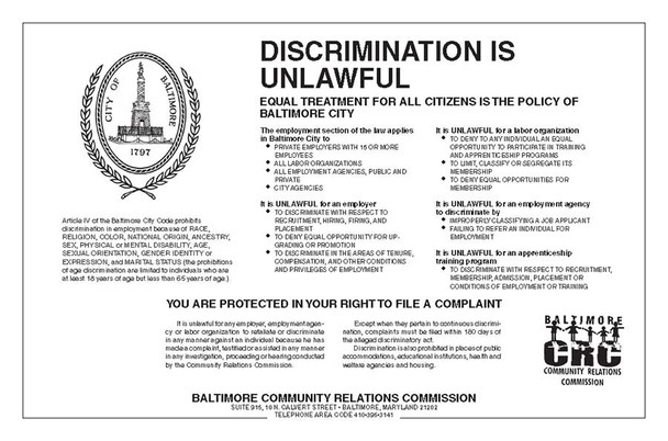 Baltimore, Maryland Discrimination Poster