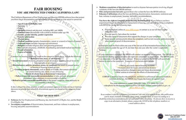 California Fair Housing Poster