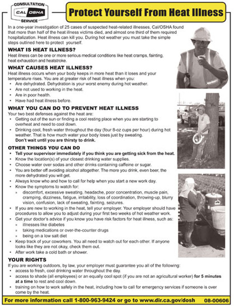 California Heat Protection Safety Poster