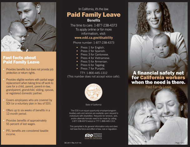 California's Paid Family Leave New Hire Pamphlet Packet