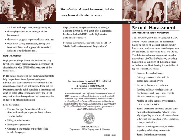 California's Sexual Harassment New Hire Pamphlet Packet