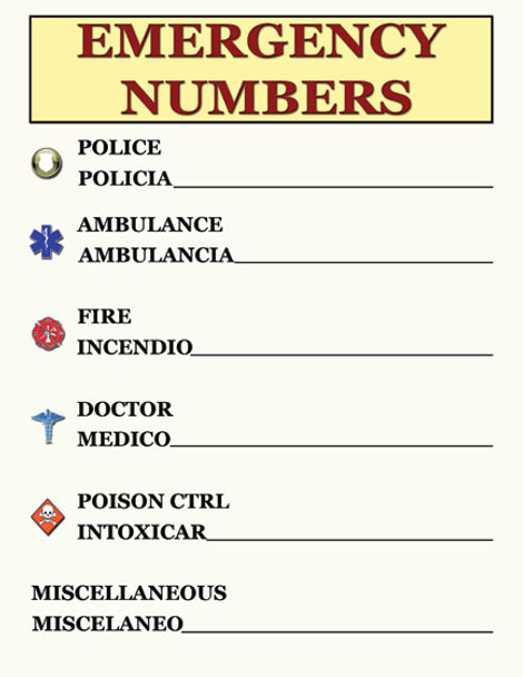 Emergency Contact Numbers Safety Poster